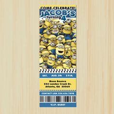 Despicable Me 2  Ticket Invitation  by ChenillePartyDecor on Etsy, $12.99