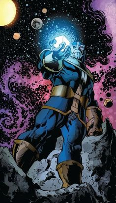 Marvel has released a teaser image for 'Avengers Assemble' by Brian Michael Bendis and Mark Bagley, depicting Thanos with a Cosmic Cube in his clutches, asking 'Who Needs An Infinity Gauntlet? Captain Marvel, Thanos Marvel, Marvel Villains, Marvel Comics Art, Marvel Dc Comics, Marvel Heroes, Captain America, Thanos Hulk, Poster Marvel