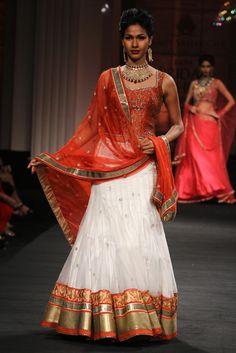 Indian bridal Lehenga, red and white wedding dress