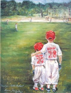 Baseball Lithograph Boys Sports Children brothers Artist print, 11x 14 unmattedFrom LaurieShanholtzer