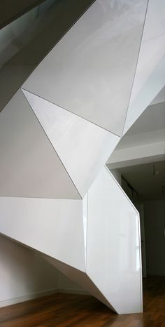 This faceted spiral staircase was created by Czech architects EDIT