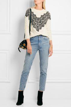 Maje | Malto lace-paneled knitted sweater | NET-A-PORTER.COM