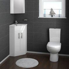 Alaska Corner Cabinet Vanity Unit (High Gloss White) profile large image view 4