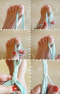 Pour réaliser la grande suspension, il vous faut: - 4 morceaux de trapilho d'environs 2 m et des ciseaux - ...