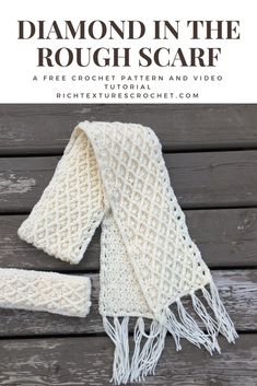 A free crochet pattern for a scarf with great texture and warmth! Free video tutorial is also included! Try this free Crochet Winter Scarf pattern in the diamond stitch. You'll love the diamond stitch after making this beautiful Crochet Winter Scarf. Bonnet Crochet, Crochet Beanie, Crochet Shawl, Crochet Stitches, Free Crochet Scarf Patterns, Crochet Scarves, Crochet Clothes, Crocheted Scarf, Crochet Scarf Easy