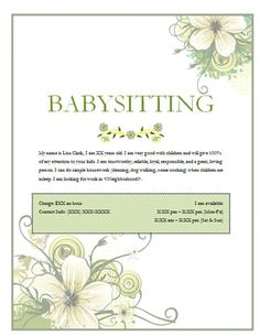 Free Babysitting flyer templates and ideas: make your own ...