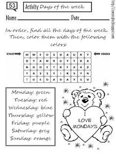 Ficha para reforzar el aprendizaje de los días de la semana en Inglés. Ficha muy sencilla y fácil de desarrollar.