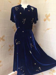 1930s superb royal blue silk velvet dress with gold beading, ruching and flared skirt.