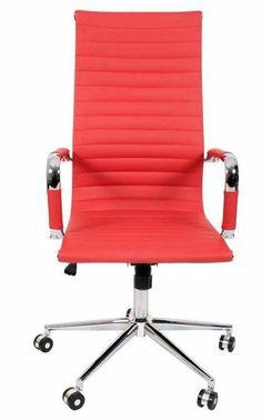 Bureaustoel Manhattan hoog rood -LuQs-Living eigentijds en betaalbaar