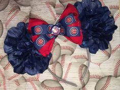 Chicago Cubs Inspired Floral Mouse Ears