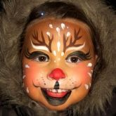 The mouth is kind of scary, but great idea for a full Rudolph face.