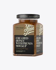 Creamed Honey w/ Prunes Glass Jar Mockup - Halfside View (Preview)
