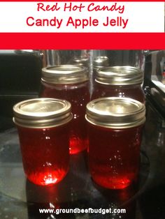 Red Hot Candy Apple Jelly: Easy to make using apple juice and Ferrara Pan Red Hot Candies! www.groundbeefbudget.com