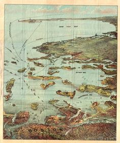 """From the blog : """"A completely different view of the Cape, 18th century, and the golden age of """"bird's eye"""" maps: looking southward from Boston."""""""
