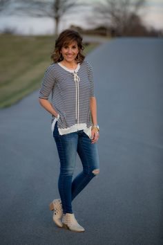 Lace-up top with spring booties.