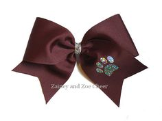 Solid Texas Cheer Bow with hologram pawprint applique. Great for game or spirit bows.