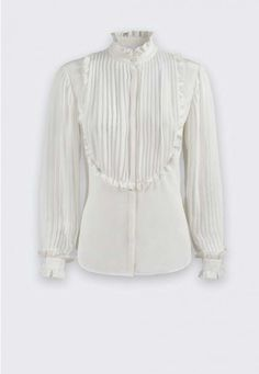 New Collection FW15 I Anne Fontaine I Romantic is a Silk Victorian Ruffle Blouse #annefontaine #whiteshirt #shirt #blouse #silkshirt #ruffleblouse #victorian