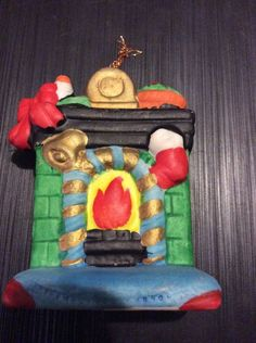 Christmas Ornament Ceramic Handpainted Fireplace Hearth Chimney #christmas #ornaments