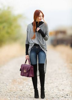 Grey Long Line Wrap Cardigan , Skinnies , Black High Boots