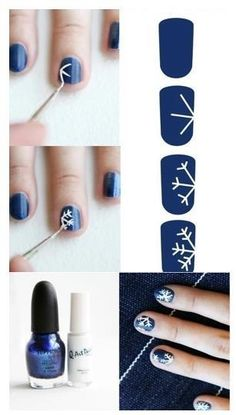 Nails Navy Blue with White Snowflakes ~ DIY