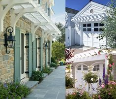 I've been wanting to add a narrow pergola to my garage...just like the upper, right photo. Oh, honey....
