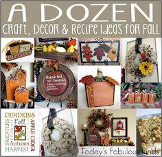 A Dozen Craft, Decor, and Recipe Ideas for Fall. I especially like the square wood pumpkins! Autumn Crafts, Holiday Crafts, Holiday Fun, Holiday Ideas, Autumn Ideas, Thanksgiving Ideas, Favorite Holiday, Halloween Wood Crafts, Fall Halloween