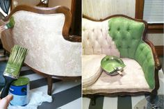 DIY, Paint a Sofa with Latex Semi-Gloss Paint (who knew?)