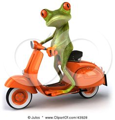 Royalty-free clipart picture of a cute red-eyed tree frog standing up on an orange scooter, with shading on a white background. Royalty-Free Clipart Illustration of a Cute Red-Eyed Tree Frog Standing Up On An Orange Scooter. Motorcycle Logo, Motorcycle Posters, Vespa Lambretta, Vespa Scooters, Custom Choppers, Custom Bikes, Triumph Motorcycles, Vintage Motorcycles, Chinese Scooters