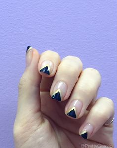 Geometric Shapes x Negative Space Nails by www.PrettyGossip.com. Click to see step by step tutorial. #NOTD #NailTrend #NailLooks