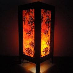 Asian Oriental Dawning Sunset Japanese Art Bedside Desk or Table Lamp or Bedside Wood Paper Light Shades Furniture Home Decor
