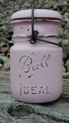 Chalk Painted Vintage Ball Canning Jar with Wire Bale Closure ~ Light Pink Junk Jar