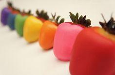 Chocolate covered rainbow Strawberries, yum!