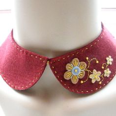Peter Pan felt collar with freeform hand embroidery by designbyjane (on Etsy)