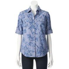Croft & Barrow® Floral Roll-Tab Chambray Shirt - Women's
