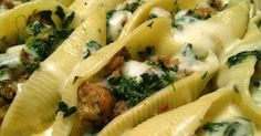 Sausage and Spinach Stuffed Shells with Garlic Cream Sauce Recipe Main Dishes with jumbo shells, sausage casings, frozen chopped spinach, salt, pepper, shredded mozzarella cheese, heavy cream, garlic, salt, grated parmesan cheese
