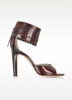 Burgundy Leather Fringed #Sandal - Marc Jacobs