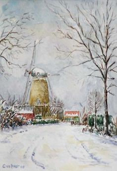 Aquarel, Molen Ons Genoegen (Middelburg), Cor van der Padt