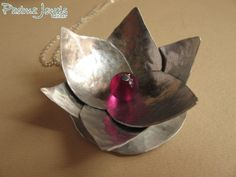 New Lotus aluminium and agathe fuxsia necklace by Padma Jewels Bazaar