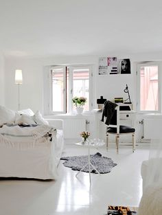 A very small white apartment