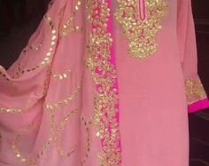 Pure Chiffon Saree with Aari Work by Threadsandblocks on Etsy