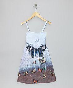 Look at this #zulilyfind! Blue Butterfly Shirred Dress - Girls #zulilyfinds 10.00
