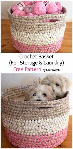 Crochet A Basket For Storage & Laundry - Free Pattern Crochet Bowl, Knit Or Crochet, Crochet Gifts, Crochet Hooks, Free Crochet, Crotchet Patterns, Crochet Basket Pattern, Crochet Baskets, Knitting Projects