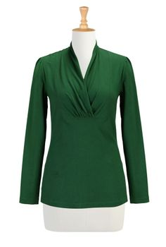 Green Holiday Tops, Cotton Knit Tees Womens designer clothing - Shop womens long sleeve tops - Tunic Tops - Shop for Women's clothing - | eS...