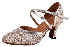 Honeystore Women Criss Cross Buckle Sequin Glitter Dance shoes Champagne 75 BM US >>> Check this awesome product by going to the link at the image.(This is an Amazon affiliate link and I receive a commission for the sales)