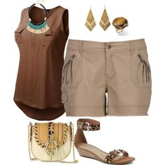 """plus size safari look"" by kristie-payne on Polyvore"