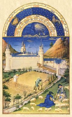 Limbourg Brothers. Les Tres Riches Heures Du Duc de Berry. July. The background contains the Palace of Poitiers. (1412-16)