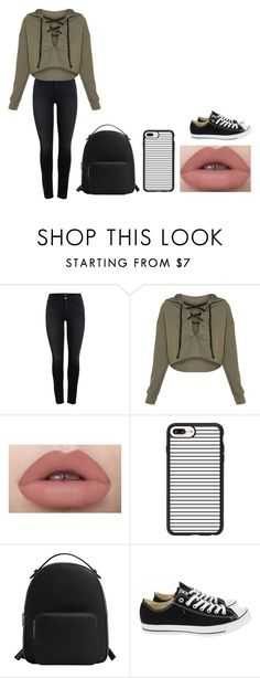 """school day"" by sarahype on Polyvore featuring Casetify, MANGO and Converse"