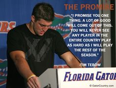 """Tim Tebow delivering """"The Promise"""" after Florida's loss to Ole Miss in 2008. For insider news on all Gator sports, visit GatorCountry.com"""