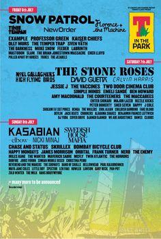 In The Park Rock Festival line up The Temper Trap, Jonestown Massacre, Professor Green, Kaiser Chiefs, Two Door Cinema Club, Festival Guide, Snow Patrol, Olly Murs, Stone Roses