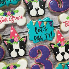 "856 Likes, 70 Comments - Maddie (@maddiescookieco) on Instagram: ""who's ready to PAW-TY . . . . . #me #imreadytopawty #dogparty #birthdaycookies #dogcookies…"""